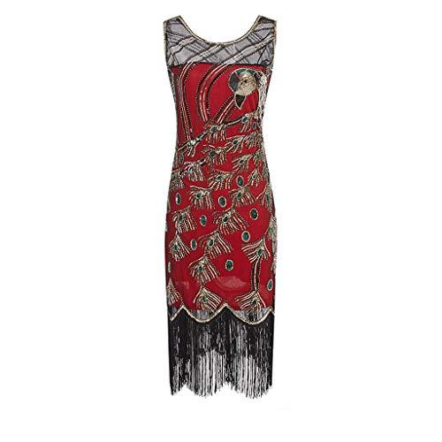 YOGO Abschlussball Kleider Damen Vintage Flapper-Kleid Gatsby Kleid Damen Charleston Kleid Retro 1920er Jahre Great Gatsby Motto Party Kleid mit Glitzer,Spitzen Ohne ärmel Knielang ()