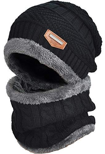 DUSISHIDAN Unisex Beanie Mütze mit Loop Schal Set, 2 in1 Strickmütze Kaschmir Mütze und Loop Gestrickt Schal [Geschenk für Weihnachten ], Schwarz-Erwachsene, Einheitsgröße
