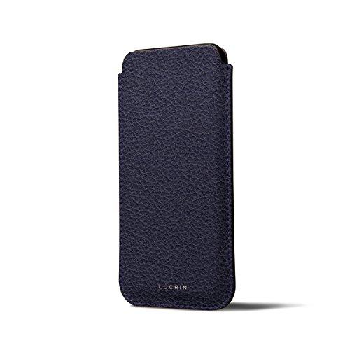 Lucrin - Étui classique iPhone X - Bleu Roi - Cuir Grainé Violet