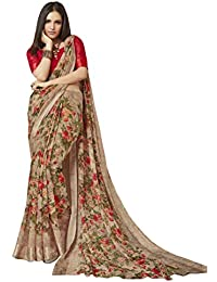 7c55e4dcd64234 Shangrila Designer Women s Digital Printed Linen Cotton Saree with Unstitched  Blouse (Brown)