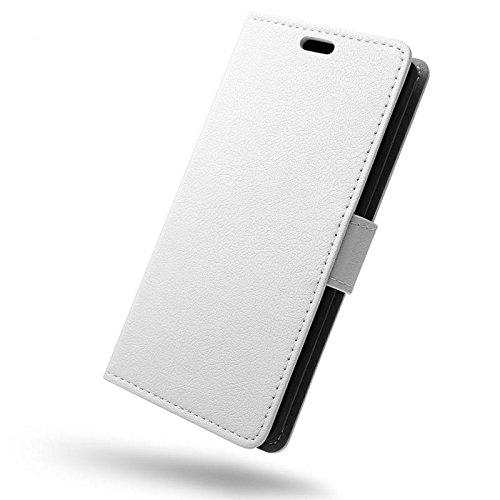 SLEO Wileyfox Spark x Hülle, Leder Case PU Ledertasche Magnet [Vollständigen Schutz] Flip Case mit Standfunktion Kartenfächer im Bookstyle für Wileyfox Spark x - Weiß