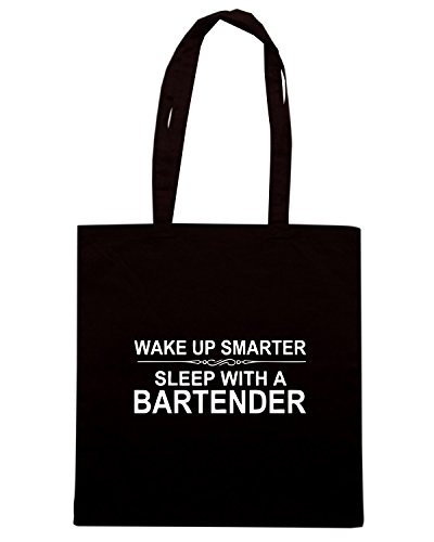 T-Shirtshock - Borsa Shopping BEER0300 Wake Up Smarter Sleep With A Bartender Nero
