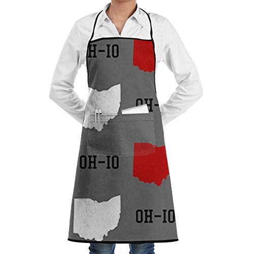 Oh-Io State Gray Grill Aprons Kitchen Chef Bib - Professional for BBQ Baking Cooking for Men Women Pockets custom aprons