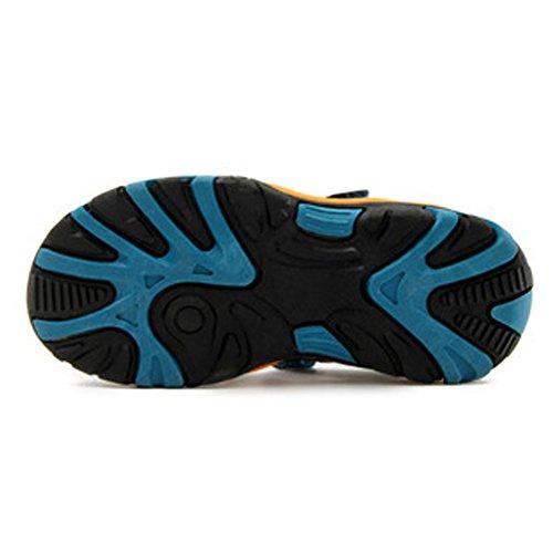 Sommer Strand Geschlossene Sandalen Klettverschluss Outdoor Wanderschuhe Ultraleicht Breathable Schuhe Flach Unisex Kinder Jungen Mädchen Blau