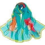 QinMM Spiaggia sciarpa, moda floreale stampato lungo scialle sciarpa foulard sciarpe in Chiffon, multicolore, sciarpa spiaggia estiva, (bianco)