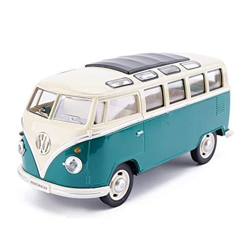Automobil-Druckguss-Ornament im Maßstab 1:32. Oldtimer-Busmodell von Volkswag11en. Aus Legierung. Die Tür kann geöffnet werden (Color : Blue and white, Size : 17.5 * 6.5 * 7CM)