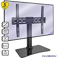 """Invision® RS400 ScreenStation Table Top TV Pedestal Stand with Tilt and Swivel using FreeMotion Technology – For 32 55"""" TV Screens – Ultra-Stable 8mm Tempered Glass Base with Anti-Slip Feet [RS400]"""