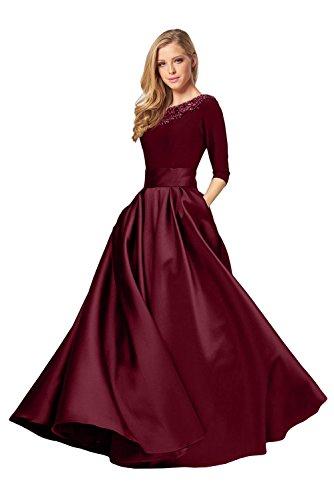 Promgirl House Damen Elegant A-Linie Abendkleider Ballkleider Festkleider HochzeitsParty Lang mit Aermel-34 Dunkelrot