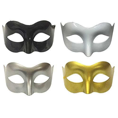 Limeo Herren Maske Kunststoff Maske Masquerade Masks Masquerade Masked Weiße Maske Mens Maskerade Maske Halloweenmaske Herren Maskerade Maske Schwarz Maskerade Maske(4 insgesamt)