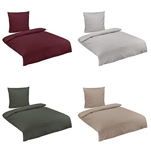 Baumwolle Biber Uni Bettwäsche mit Reißverschluss in 3 Größen und 4 Farben, 135x200 cm Bordeaux