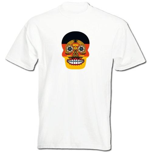 T-Shirt - DDR - Sugar Skull - Fahne - Herren - unisex - weiß XXL