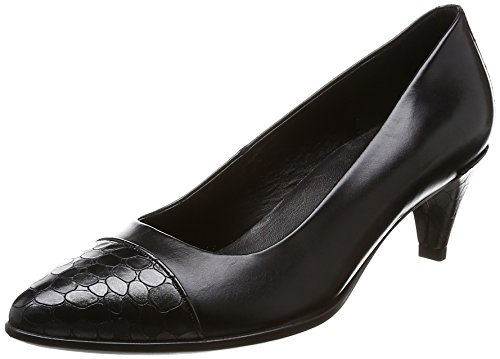 Ecco Damen Shape 45 Pointy Sleek Pumps, Schwarz (Black/Black-Buffed Silver), 40 EU