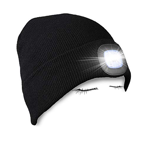 PRAVETTE LED Lighted Beanie Hat,USB Rechargeable Hands Free Headlamp Cap,Unisex Winter Warmer Knit Hat with Light for Men,Women (Black,Grey,Red)