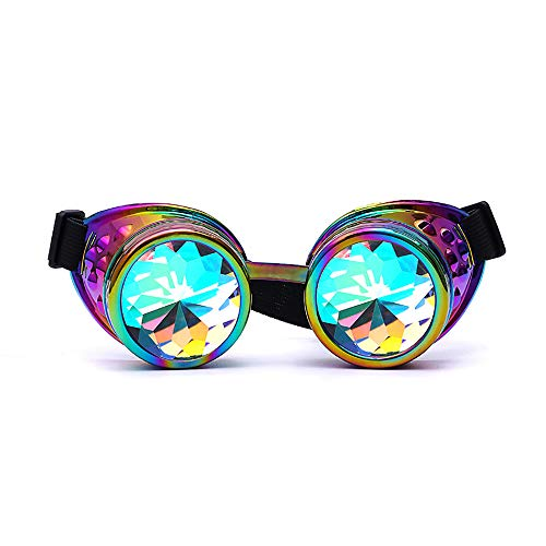 Bunte Gläser, Selou Rave Festival Party EDM gebeugte Linse Cosplay UV Anti Beschlag Spray Hipster Brillenputz Gold Rave Prisma Brille Pol Brille