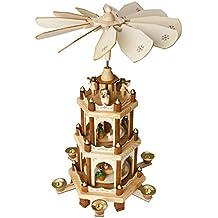 BRUBAKER Pyramide de Noël en Bois - Figurines peintes à la main - 3 Étages - Hauteur 45 cm