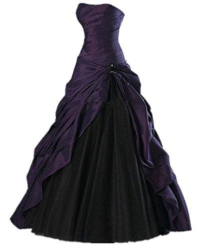 O.D.W Longue Couleur Retro Robes de Mariage Gothique Robe de MarišŠe Vintage Femme Violet 38