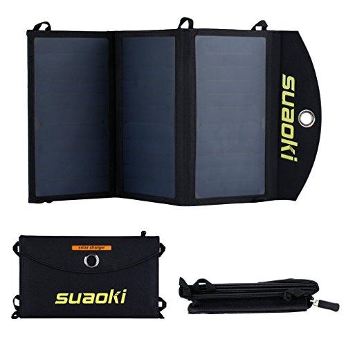 SUAOKI 20W Solar Panel Ladegerät mit 2 USB Anschlüsse, Solar Ladegerät 5V 3,4A Max für Jeden Anschluss, für iPhone, Samsung, HTC, Kindle, Lautsprecher und Mehr