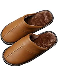 NIAA Zapatillas de algodón para Hombres PU de Cuero Impermeable con Felpa  Esponja cálida otoño e b32d6b0984f
