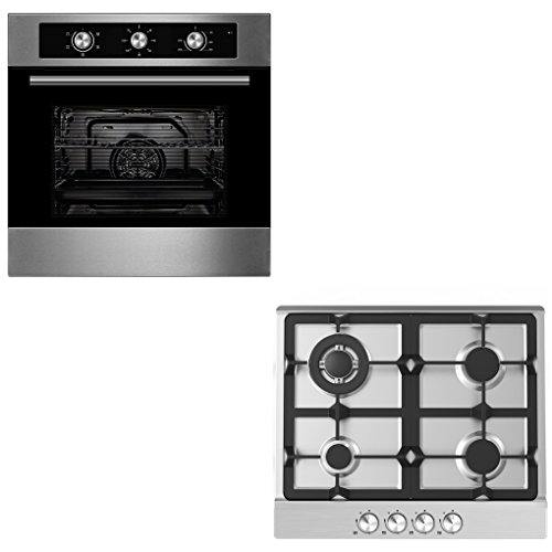41w23zao%2BEL. SS500  - Oven & Hob Bundle | Cookology 60cm Built-in Electric Fan Oven & Gas Hob Pack in Stainless Steel