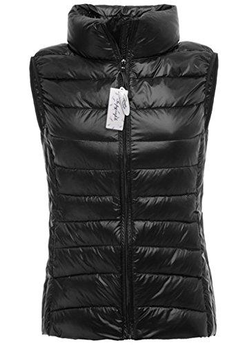 Topgraph Damen Ultra Leicht Daunenjacke Weste mit Stehkragen Leicht Gefüttert Black
