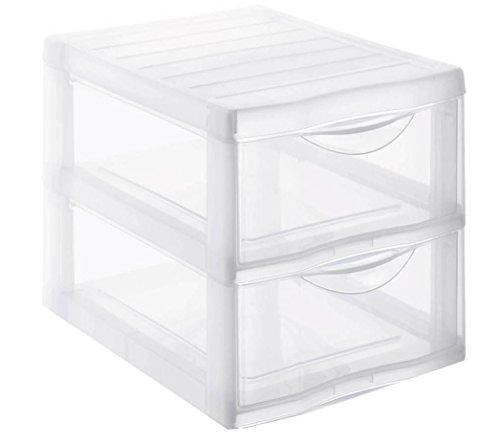Rotho Sundis 1421900096 Schubladenbox Orgamix aus Kunststoff (PP), 2 Schübe im Format A4, ca. 36 x 26 x 25.5 cm (LxBxH), transparent (2 Regal Kunststoff-regal)