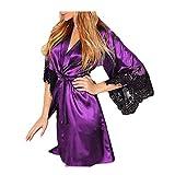 VECDY Saint Valentin Présente Femmes Sexy Kimono De Soie Dressing Babydoll Dentelle Lingerie Ceinture Robe De Bain Robe De Nuit(Violet,3XL)