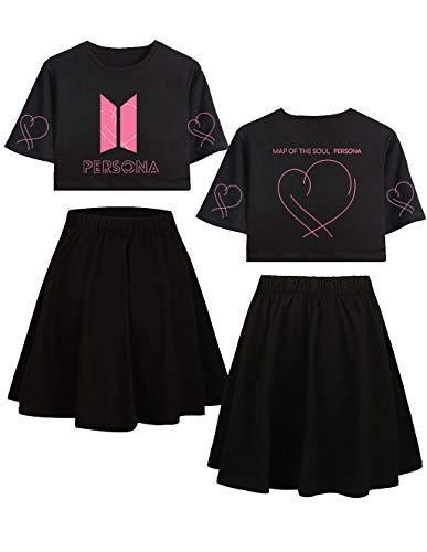 Siennaa BTS T-Shirts und Rock Set Damen, Teenager Mädchen Map of The Soul Persona Tshirts Kurz Rocks Crop Tops Anzug Frauen Bauchfrei Oberteile Armee Suga Jimin Jin Jung Jook J-Hope Rap-Monster V -