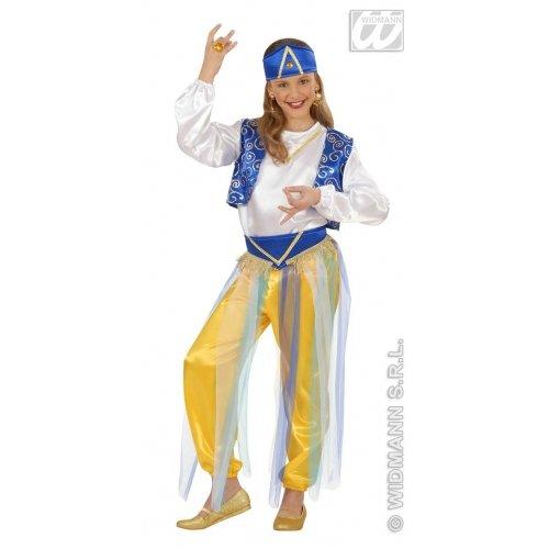 WIDMANN-Wdm55407 Kinderkostüm Prinzessin Araba, Jasmine 8/10 Jahre, weiß hellblau, grün, 8-10 Jahre, 140 Centimetimeter, WDM55407
