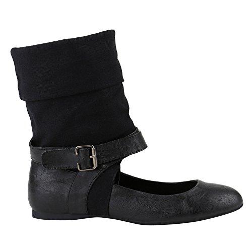 Damen Boots Cut-outs Sommer Stiefeletten Flats Klettverschluss Schwarz Schnalle