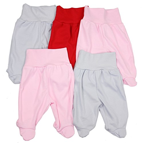 TupTam Unisex Baby Strampelhose mit Fuß 5er Pack, Farbe: Mädchen, Größe: 74