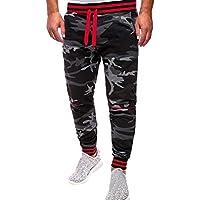 Mxssi Hombres Cintura elástica Camuflaje Color Cordón Pantalones Holgados Jogger Gimnasio Pantalones de Fitness Chándal Pantalones Slim Fit Pantalones de Entrenamiento