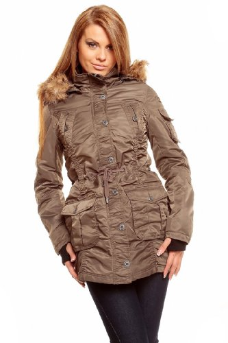 Urban Surface Winter Jacke Winterjacke Parka Out of doors Ski mit Kapuze L (38) Dunkel Olive