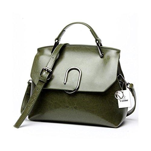 Borsa a tracolla Yoome da donna Borsa a tracolla in vera pelle vintage con tracolla in vera pelle - Nero verde
