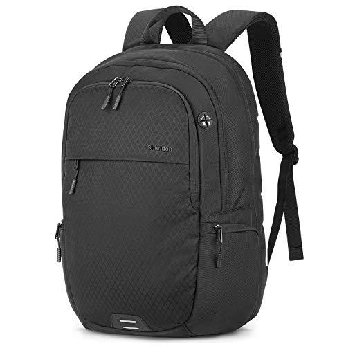SHIELDON Laptop Rucksack, Reiserucksack Herren, Super Leicht Daypack für 15-15,6 Zoll Notebooks, RFID-Schutz von Bankkarteninformationen, Wasserabweisend Backpack für Travel Bissness, (24L) Schwarz