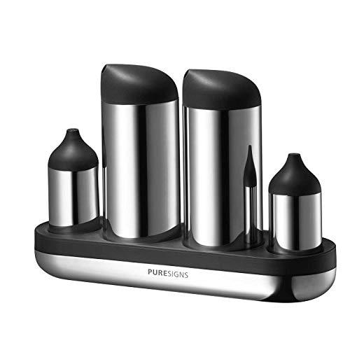Puresigns BREEZE Essig Öl Salzstreuer Pfefferstreuer Set Menage Edelstahl Poliert Silber 4-teilig