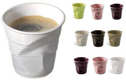 takestop® SET 6 BICCHIERINI accartocciati PIEGATI TAZZA DA CAFFE CAFFE' IN CERAMICA BICCHIERE TAZZINE ESPRESSINO BAR colore casuale