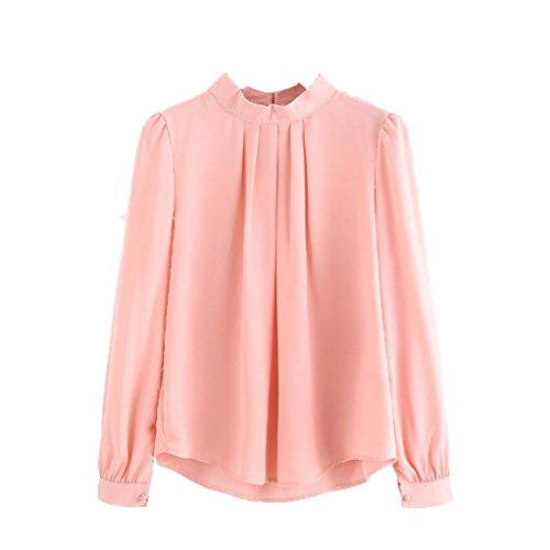 Tefamore donne estate piega sciolto casuale chiffon manica lunga camicia (s, rosa)