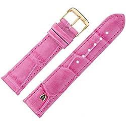 Uhrenarmband 20 mm Leder rosa matt Prägung, Alligator - MADE IN GERMANY - Uhrband mit Marburger Logo, in matter Farbe & Alligatoroptik - Marburger Uhrenarmbänder seit 1945 - matt rosa / gold