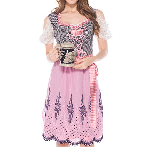 Soubrette Kostüm - RONSHIN Weibliche bayerische Spitzenkleid Plaid Muster Halloween Party Cosplay Dress Kostüm Pink M