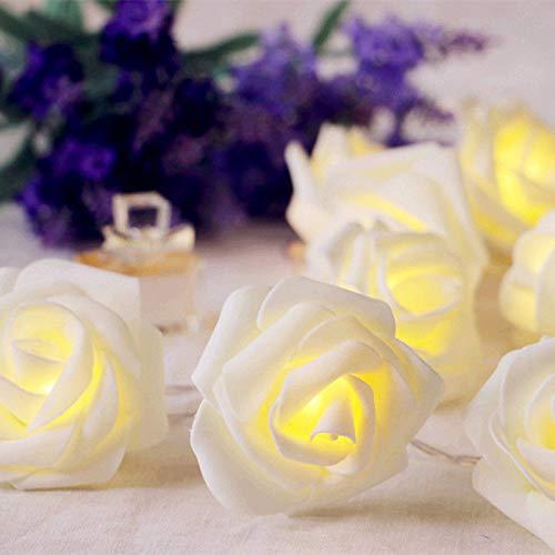 Rose Flower Led Fairy String Licht Batteriebetriebene Hochzeit Garten Party Decor Rose Flower - Ca. 7 cm / 2,7 Zoll Zoll Durchmesser, warmweiß, 2M mit 20 LED-Leuchten