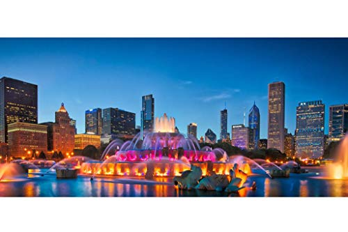 Poster, Motiv Chicago Skyline Buckingham Fountain Panorama bei Nacht, 137 x 91 cm