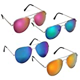 #10: Elligator Stylish Aviator Mirrored Sunglasses Combo For Men & Women( combo of 4 )