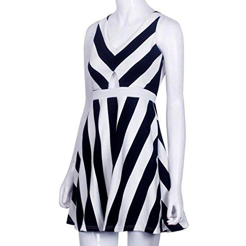 Sexy robe, Amlaiworld Femmes robe d'été sans manches encolure en v Sexy bande Mini Blanc