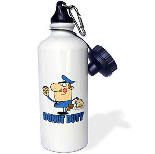 Sports Water Bottle Gift, Funny Cartoon Police Officer On Donut Duty White Stainless Steel Water...