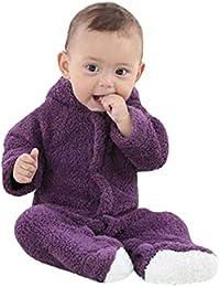 Zarupeng Neugeborenes Baby-Jungen-Mädchen Schlafsack Langarm Karikatur Spielanzug Overall mit Kapuze Unisex Einfarbig Flanell Strampler