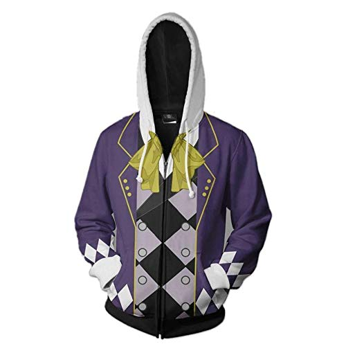 IDEALcos Herren Black Butler Anime Hoodie Sweatshirt Kostüm Halloween Cosplay Zip Up Jacke (S, Lila) (Butler Kostüm S Halloween Men)