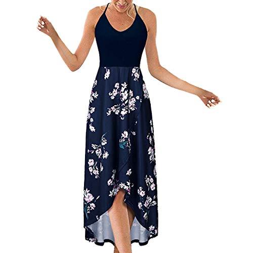 Fenverk Langarm Sommerkleid Casual Kleid A Linie Minikleid Elegant Kleider Knielang Strandkleider Lose Shirtkleid(Marine-b,L)