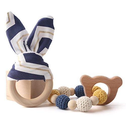 baby tete Teething Ringe Bunny Ear 1set/2pc Sensorische Baby Gym Spielzeug Hölzerne Bär Chew Spielzeug Baby Set von Zähnen
