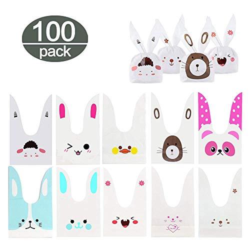Fine Finet 100 x Bunny Süßigkeit Partytüte, Kaninchen Ohr Taschen Beutel Plätzchen, Gebäck Tütchen Bonbons Geschenk Verpackung für Kindergeburtstag Halloween Party