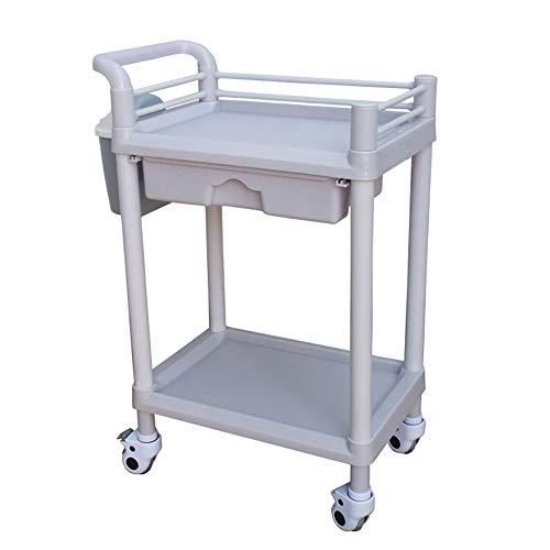 Salon Trolleys Schönheitssalon ABS-Rollwagen mit 1 Schublade, 2/3-Schicht Medizinisch Hautpflege Spa Mobile Gerätewagen (Farbe : 2 Tier, größe : with armrest)